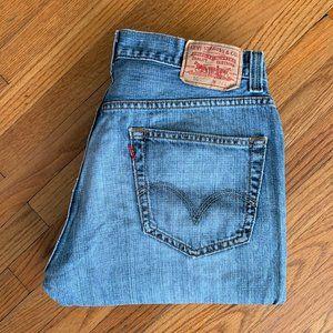 Levi's 505 Regular Fit Straight Distressed Jeans